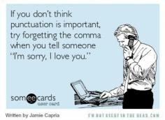 sorry comma